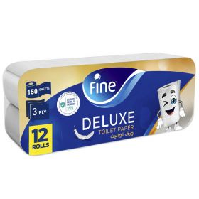 Fine Sterilized Toilet Paper Deluxe 3ply 150 Sheets 8+4