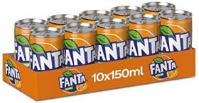 Fanta Orange Carbonated Soft Drink Can 10 X 150Ml