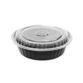 Hot Pack Microwavable Containers Black Base 8377 (Round ) 5 Pcs