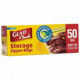 Glad Storage Zipper Bag 16.8 Cm X 18 Cm 50 Bags
