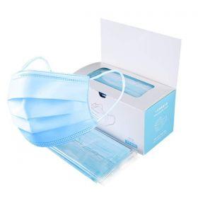 3 ply face mask, 50 piece box, blue color