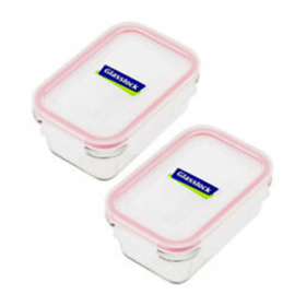 2-Piece Rectangular Food Container Set Clear/Blue 2 x 710ml